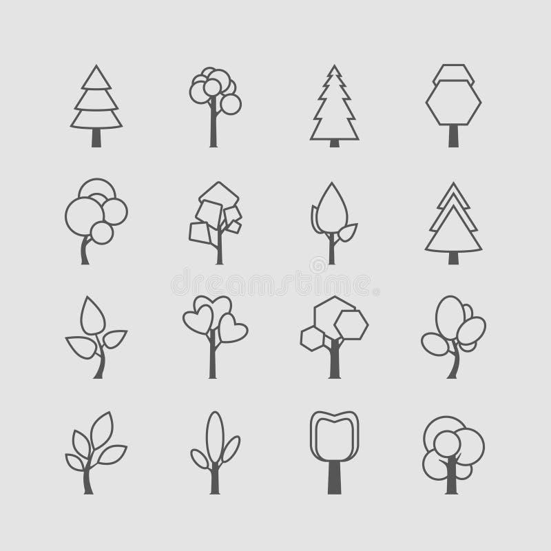 Insieme descritto assortito dell'icona dell'albero illustrazione di stock