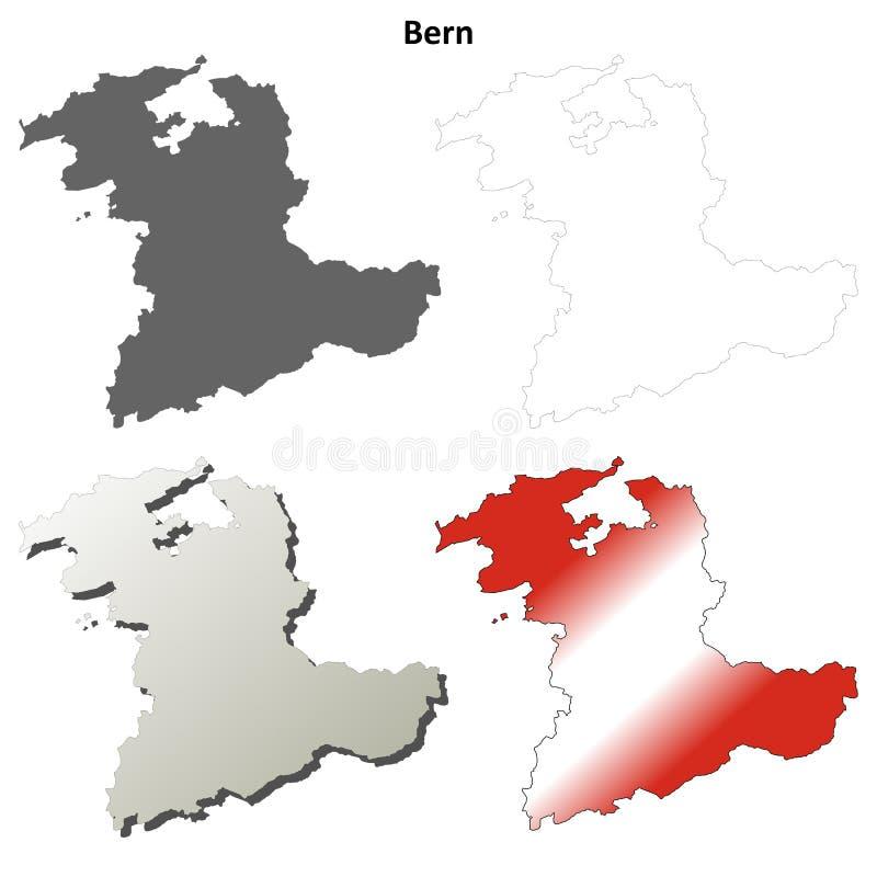 Insieme dettagliato in bianco della mappa del profilo di Berna royalty illustrazione gratis