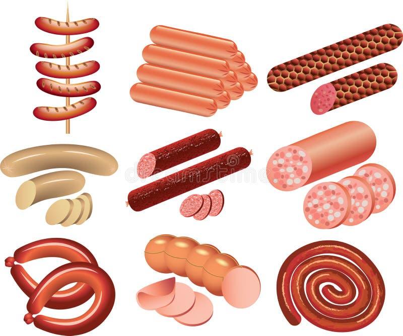 Insieme foto-realistico delle salsiccie e del Cookout illustrazione di stock