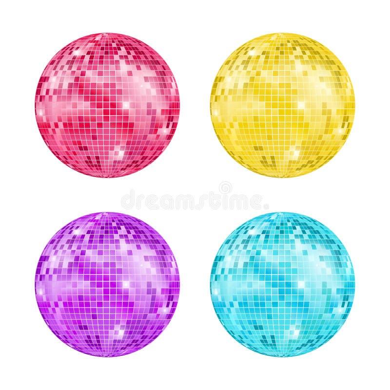 Insieme dettagliato realistico della palla della discoteca Vettore illustrazione vettoriale