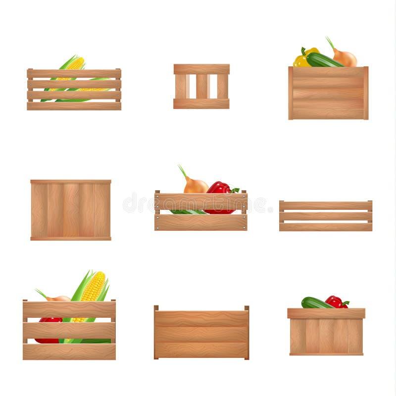 Insieme dettagliato realistico della scatola di legno degli ortaggi da frutto 3d Vettore illustrazione di stock