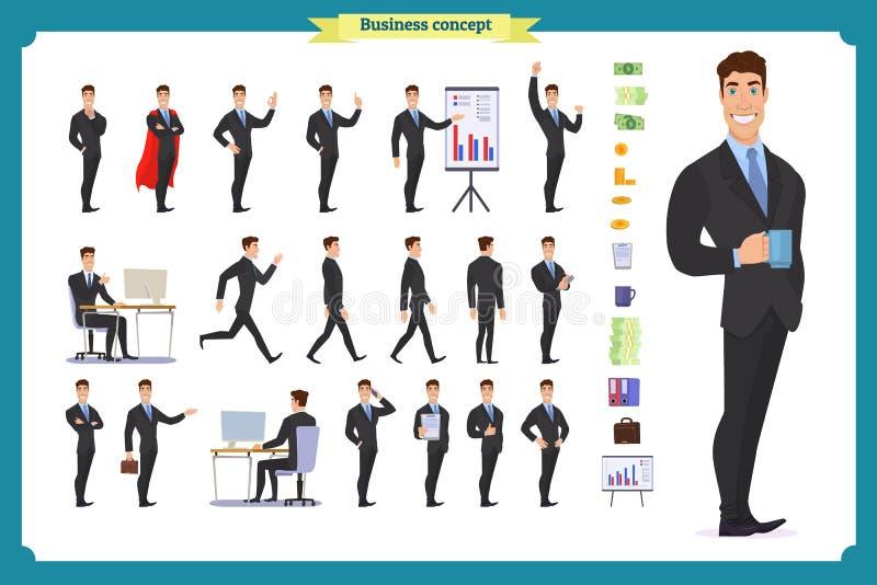 Insieme di affari di carattere della gente Giovane uomo d'affari nell'usura convenzionale illustrazione di stock