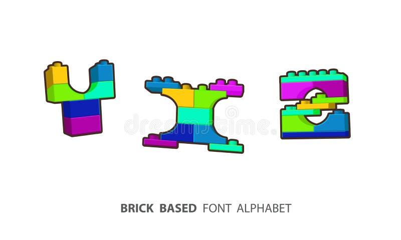Insieme di alfabeto creato dal gioco dei mattoni royalty illustrazione gratis