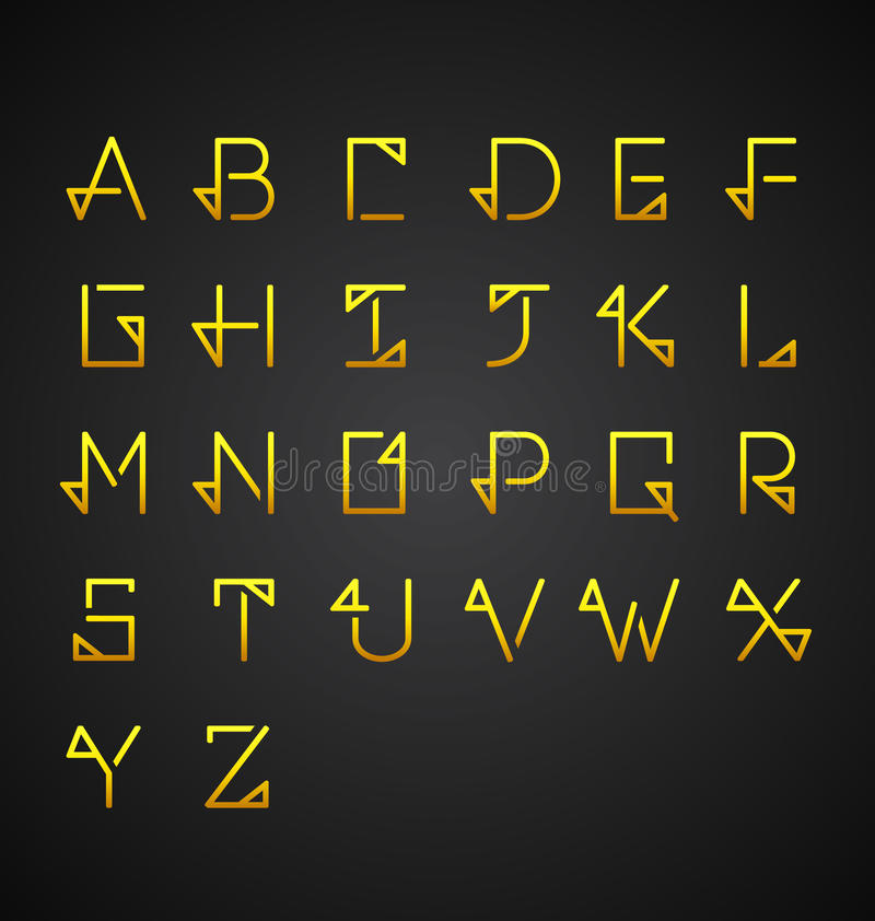 Insieme di alfabeto dell'oro di vettore illustrazione di stock