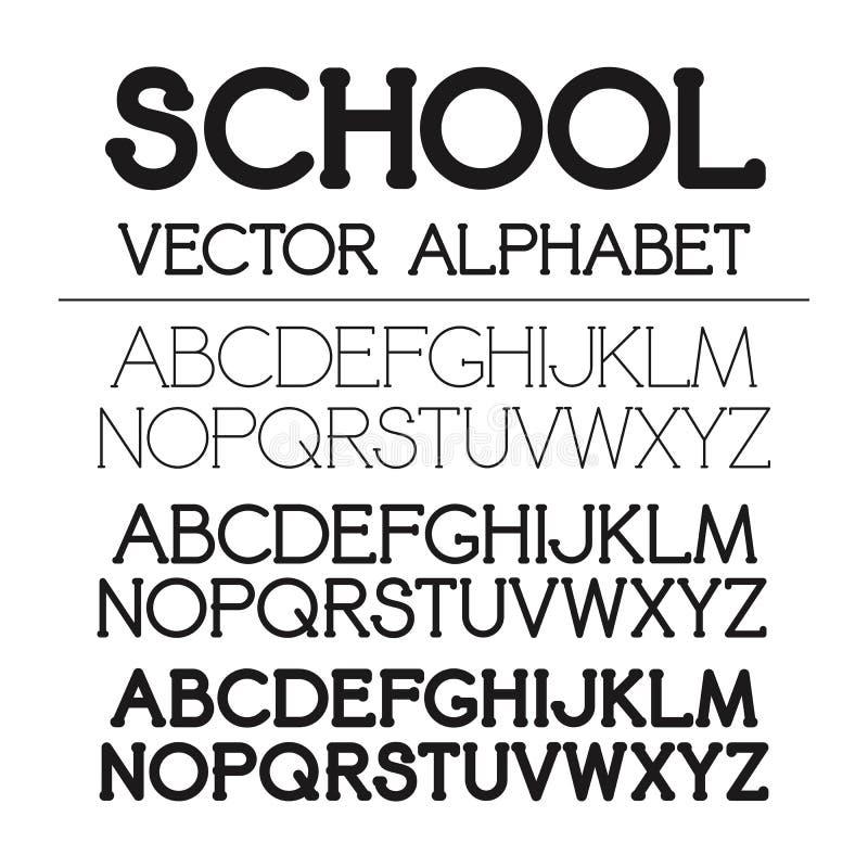 Insieme di alfabeto di vettore della scuola illustrazione di stock