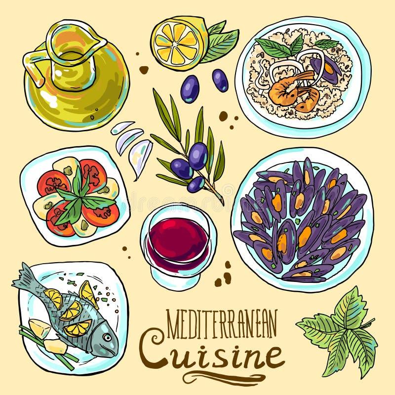 Insieme di alimento mediterraneo illustrazione di stock