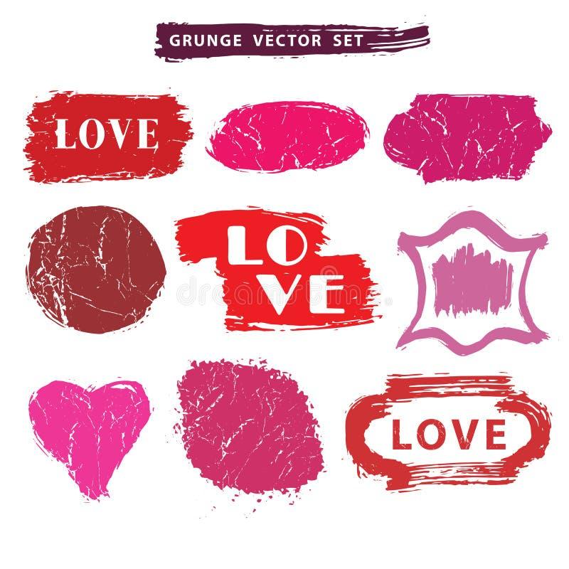 Insieme di amore Bolli afflitti Distintivi di lerciume, etichetta illustrazione vettoriale