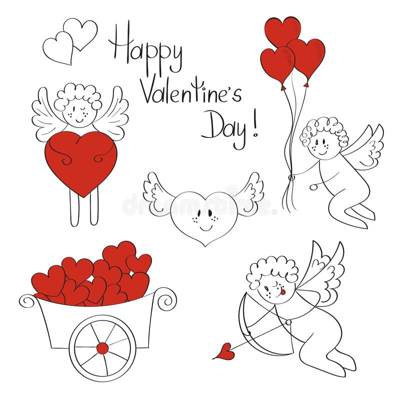 Insieme di amore Cupidi e cuori svegli Raccolta dei biglietti di S. Valentino illustrazione di stock