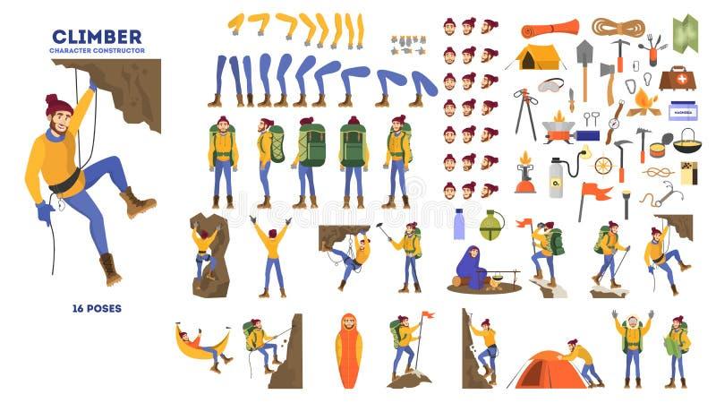 Insieme di animazione dello scalatore di montagna Attivo ed estremo royalty illustrazione gratis