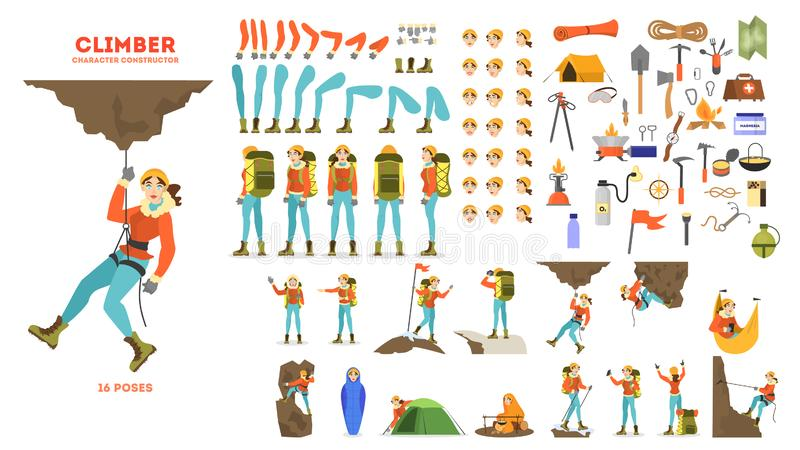 Insieme di animazione dello scalatore di montagna Attivo ed estremo illustrazione vettoriale