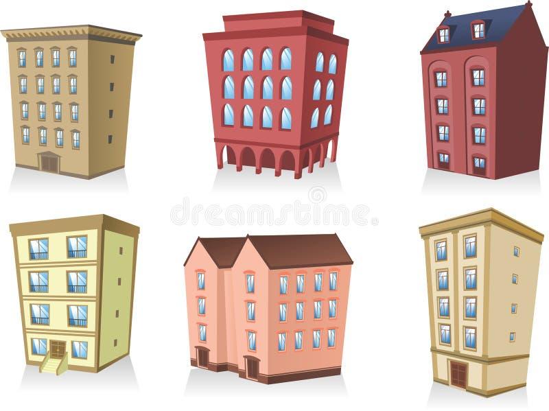 Insieme di architettura dell'appartamento della costruzione delle case 2 illustrazione di stock
