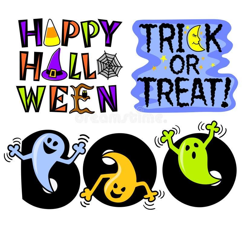 Insieme di arte di clip di Halloween illustrazione di stock