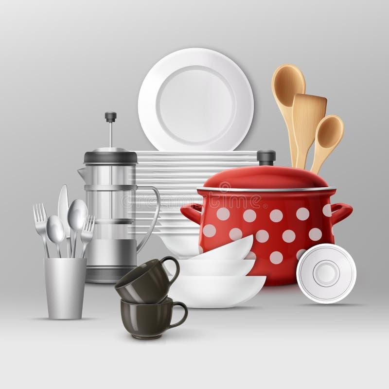 Insieme di articolo da cucina illustrazione vettoriale