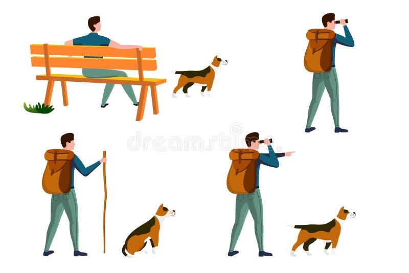 Insieme di attività di viaggio di estate di vettore - uomo con il cane royalty illustrazione gratis