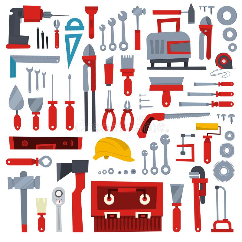 Insieme di attrezzi per bricolage Raccolta di attrezzatura per la riparazione illustrazione vettoriale
