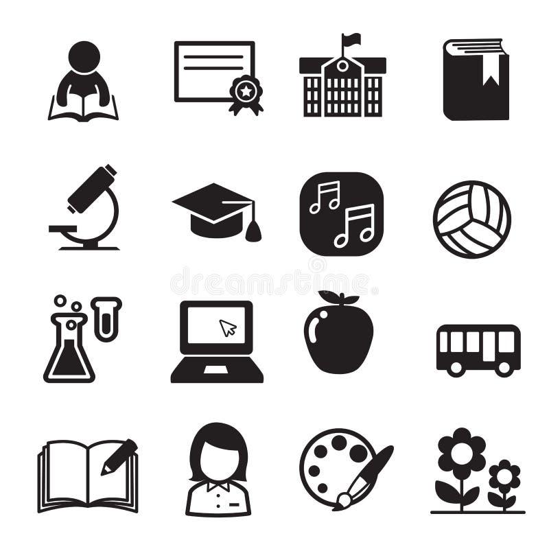 Insieme di base dell'icona della scuola illustrazione di stock