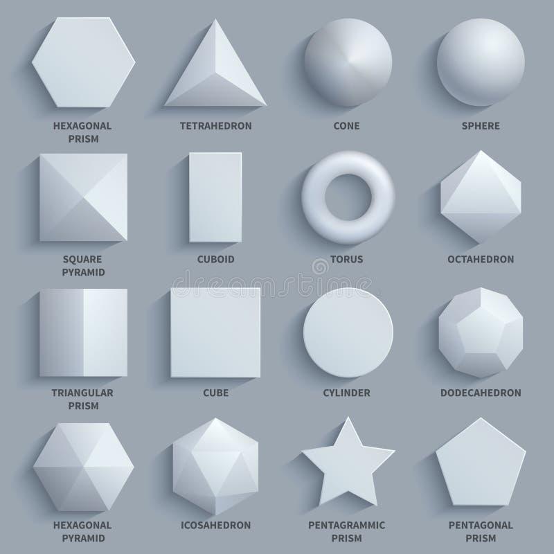 Insieme di base di vettore di forme 3d di per la matematica bianco realistico di vista superiore Figure geometriche tridimensiona illustrazione vettoriale