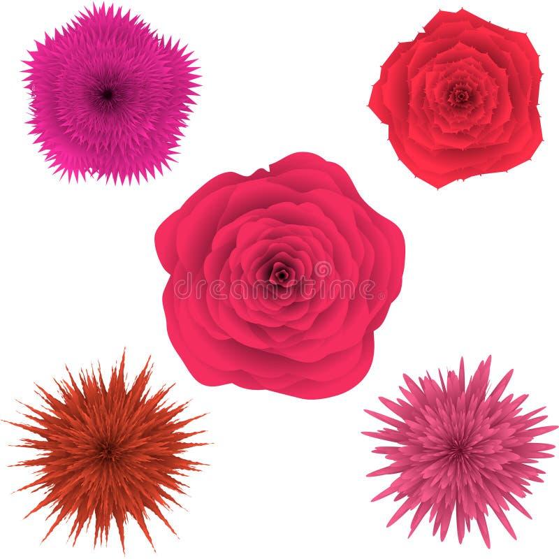 Insieme di bei fiori variopinti, floreale illustrazione di stock