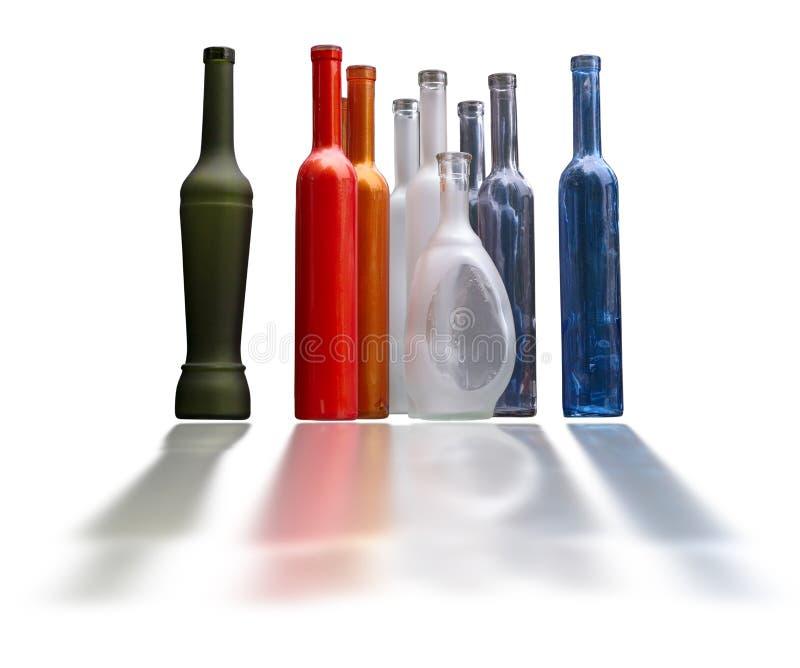 Insieme di belle bottiglie adenoide isolate sopra bianco fotografia stock