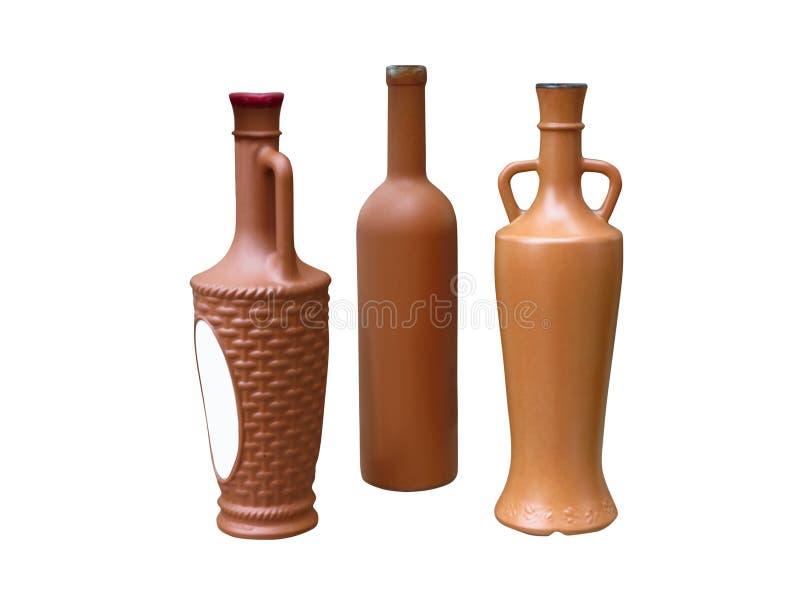 Insieme di belle bottiglie adenoide isolate sopra bianco immagine stock libera da diritti