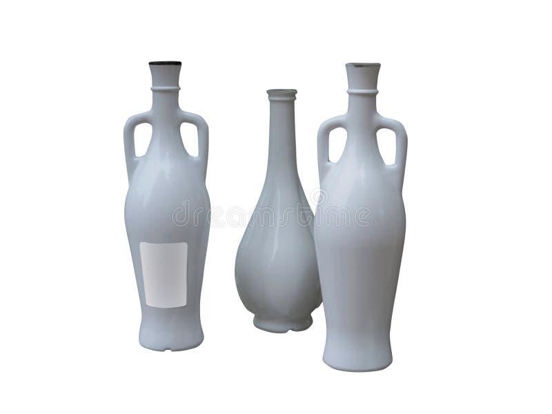 Insieme di belle bottiglie adenoide isolate sopra bianco fotografie stock libere da diritti