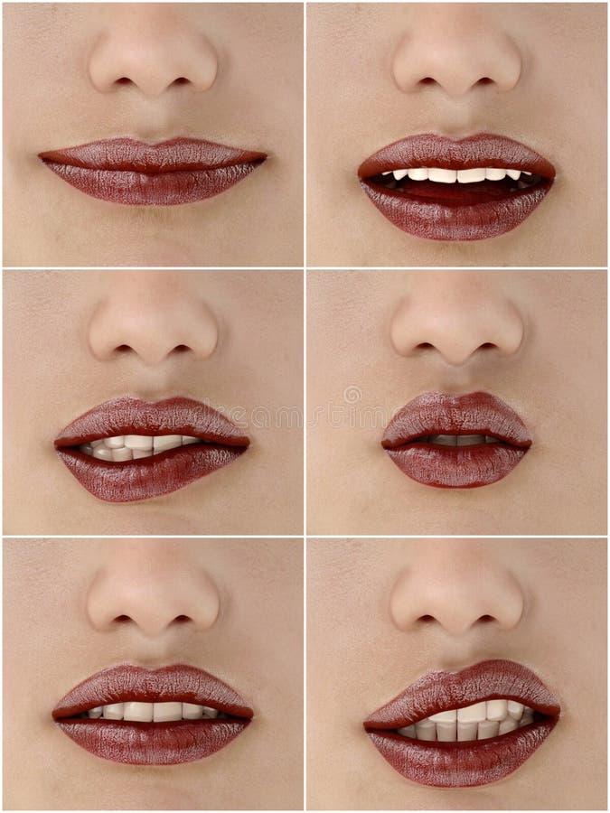 Insieme di belle labbra del ` s della donna Le bocche della ragazza si chiudono su con trucco rosso del rossetto che esprime le e royalty illustrazione gratis