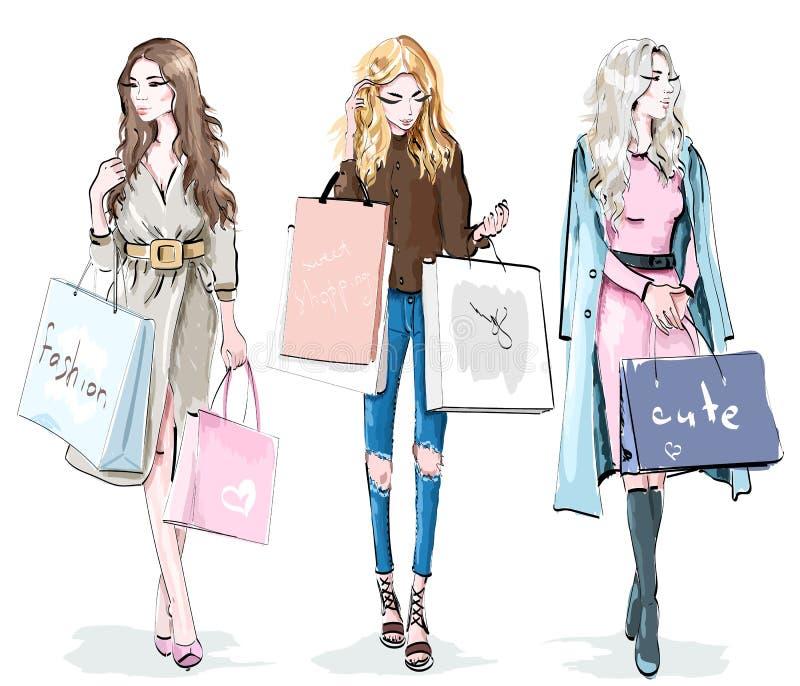 Insieme di belle ragazze con i sacchetti della spesa Donne di modo Concetto di giorno di acquisto Schizzo alla moda illustrazione di stock