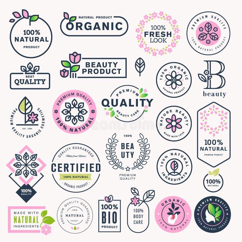 Insieme di bellezza, cosmetici ed etichette naturali ed autoadesivi di sanità royalty illustrazione gratis
