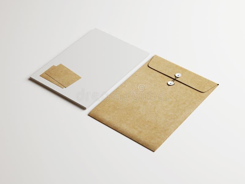 Insieme di bianco e degli elementi di identità di Kraft su fondo di carta fotografia stock libera da diritti