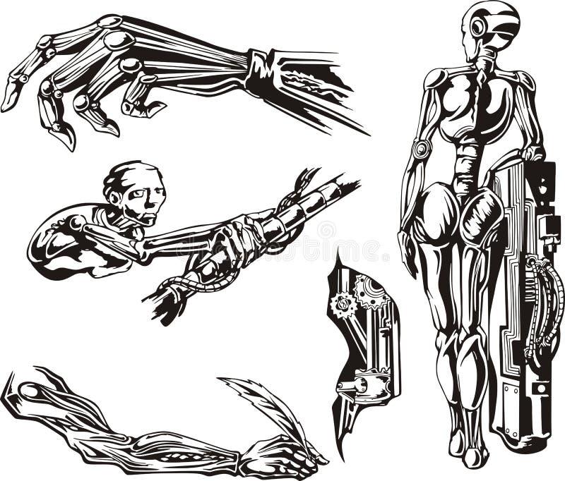 Insieme di biomeccanica dei cyborg illustrazione vettoriale
