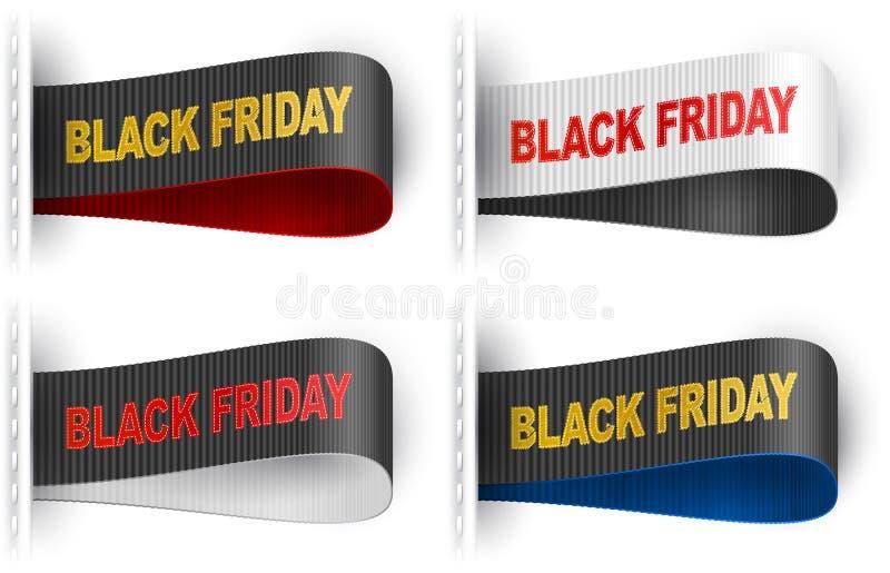 Insieme di Black Friday di frase cucito autoadesivo dei vestiti dell'etichetta dell'etichetta di vendita illustrazione vettoriale