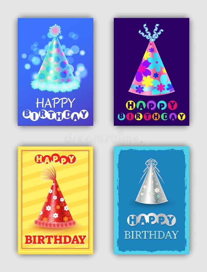 Insieme di buon compleanno delle carte di celebrazione luminose royalty illustrazione gratis