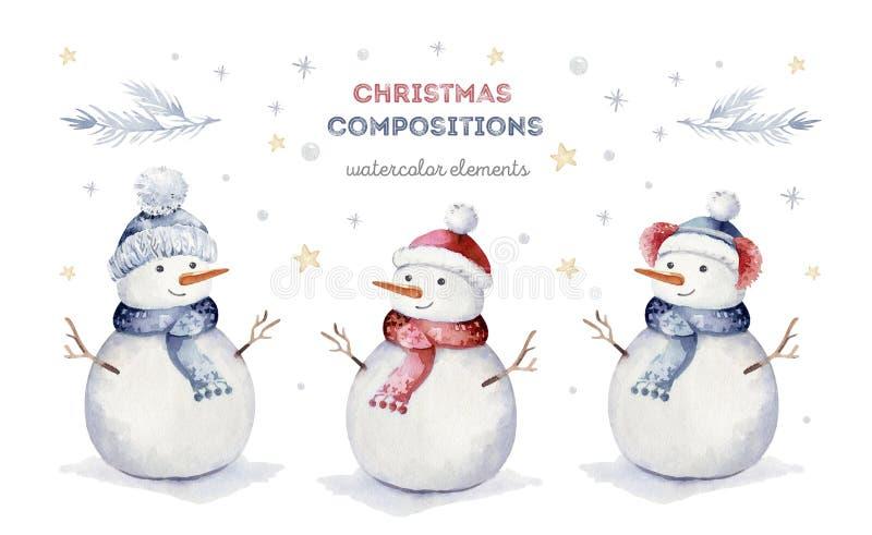 Insieme di Buon Natale dell'acquerello dell'illustrazione degli snowmans del carattere Pupazzo di neve divertente sveglio isolato royalty illustrazione gratis