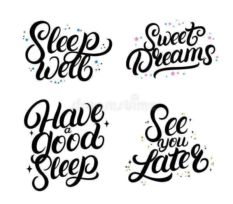 Insieme di buone citazioni di calligrafia del nigth Sogni dolci illustrazione vettoriale