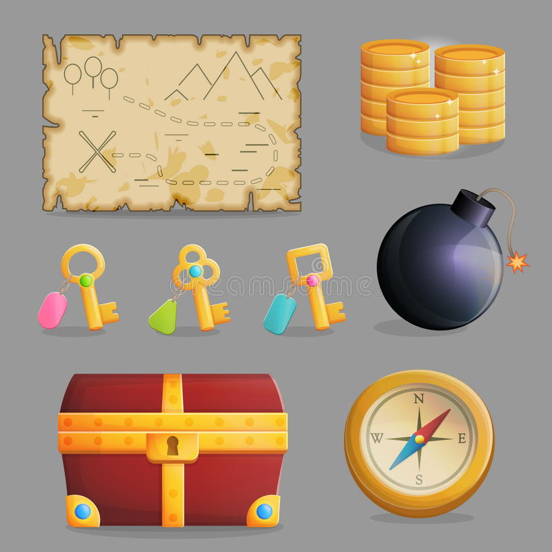 Insieme di caccia del tesoro delle icone del gioco royalty illustrazione gratis