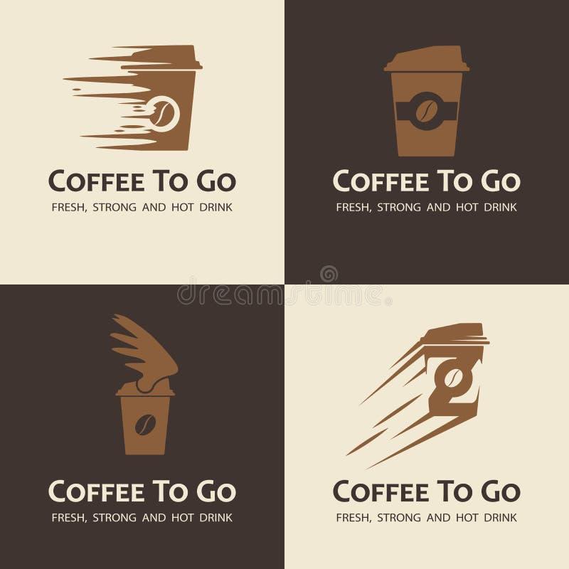 Insieme di caffè da andare etichette illustrazione vettoriale