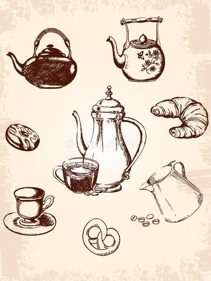 Insieme di caffè dell'annata royalty illustrazione gratis