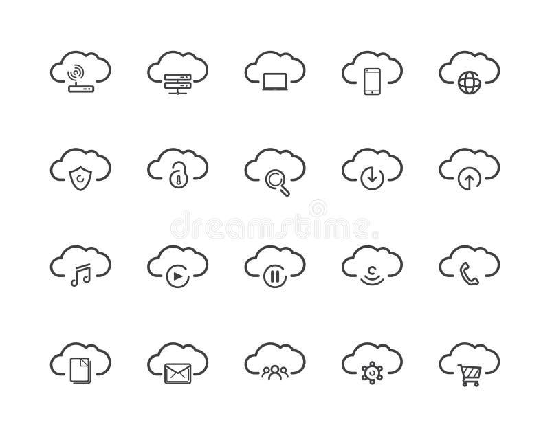 Insieme di calcolo dell'icona della nube royalty illustrazione gratis