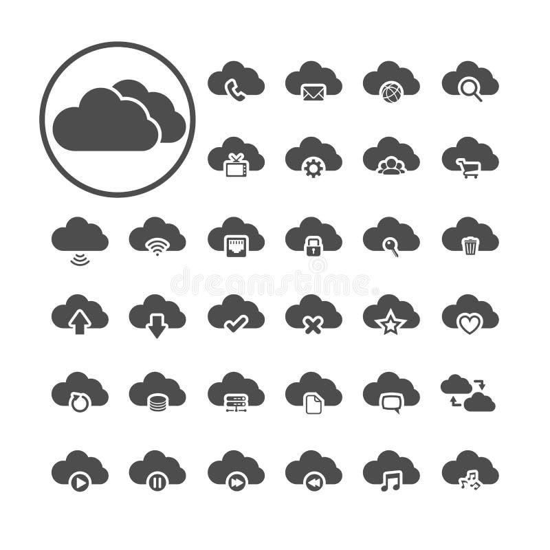 Insieme di calcolo dell'icona della nuvola, vettore eps10 royalty illustrazione gratis