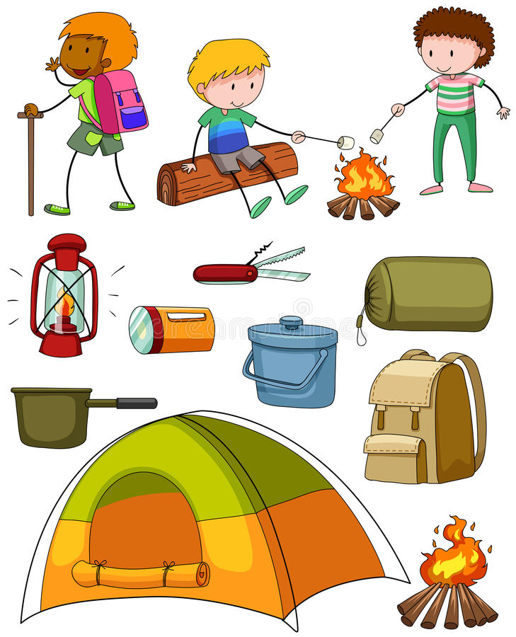 Insieme di campeggio con i campeggiatori e la tenda royalty illustrazione gratis