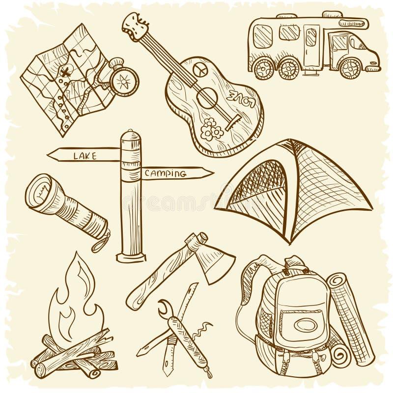 Insieme di campeggio dell'icona illustrazione di stock