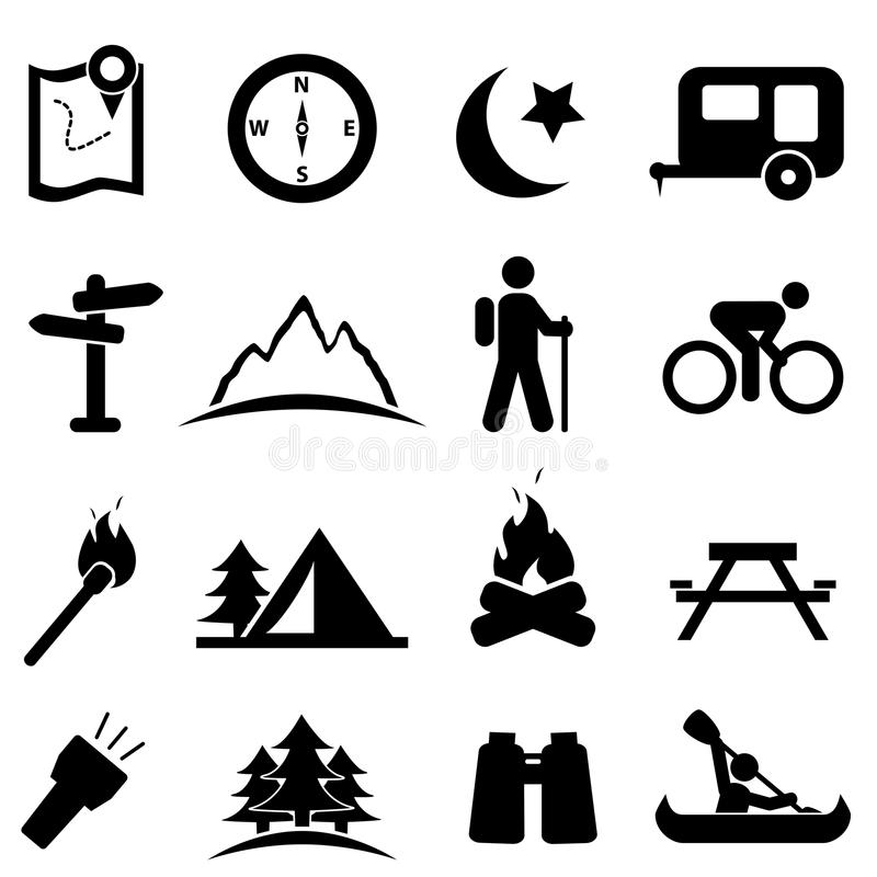 Insieme di campeggio dell'icona illustrazione vettoriale