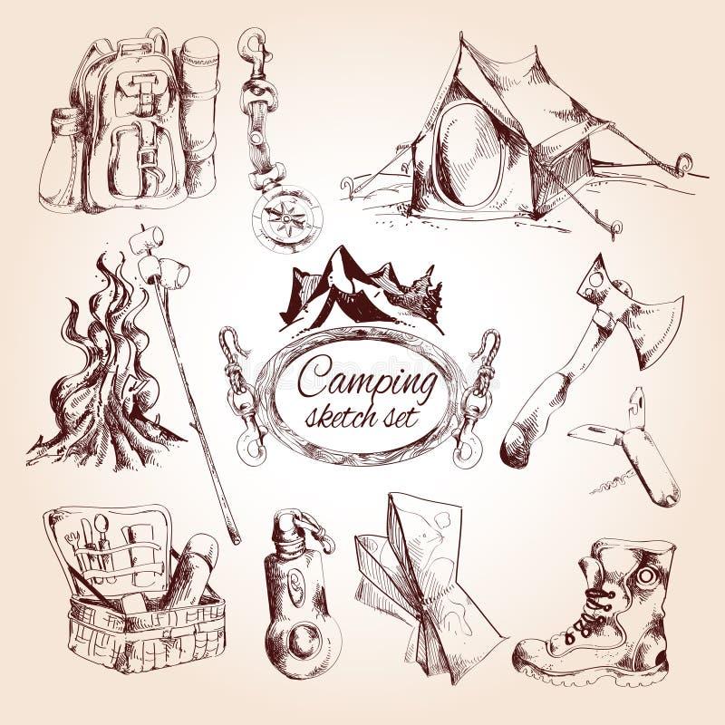 Insieme di campeggio di schizzo royalty illustrazione gratis