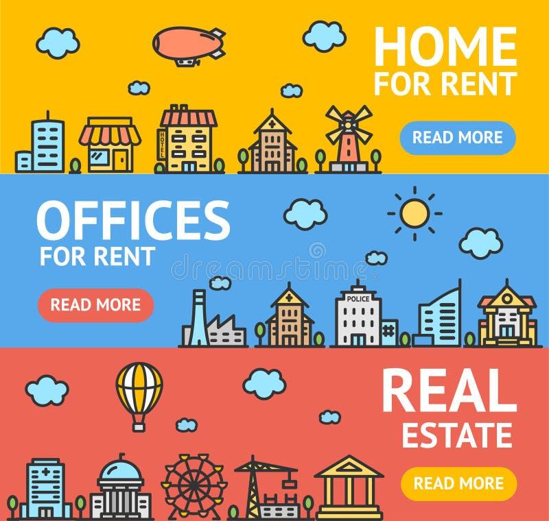 Insieme di carta dei manifesti dell'insegna dell'aletta di filatoio di Real Estate Vettore royalty illustrazione gratis