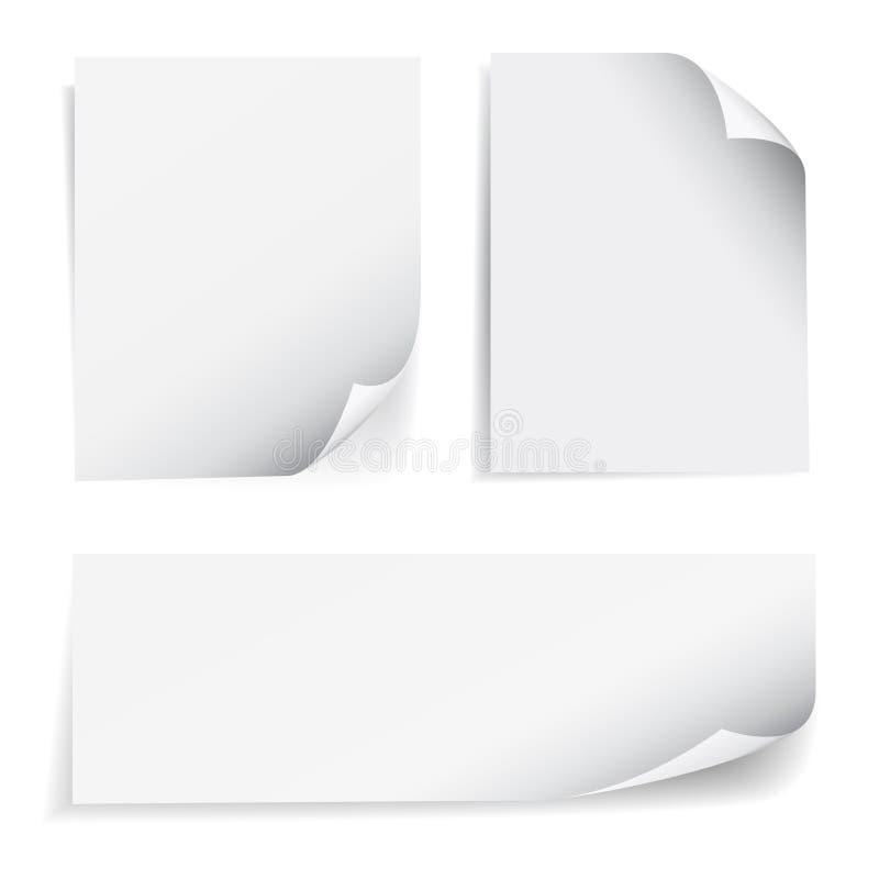 Insieme di carta del ricciolo della pagina del foglio bianco royalty illustrazione gratis