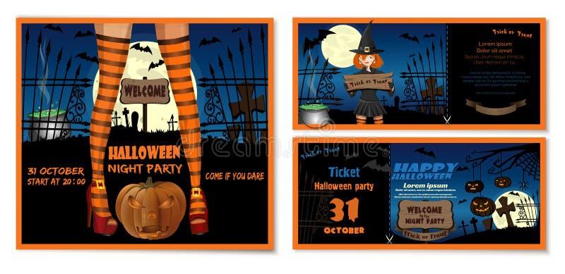 Insieme di carta dell'invito di Halloween con una ragazza sveglia illustrazione di stock