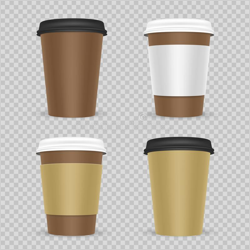 Insieme di carta realistico di vettore delle tazze di tè o del caffè illustrazione di stock