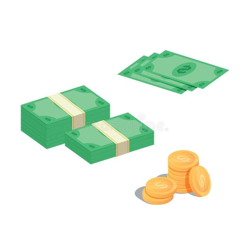 Insieme di carta di vettore delle banconote dei vari di soldi delle fatture contanti del dollaro Mucchio dei contanti dei soldi I royalty illustrazione gratis