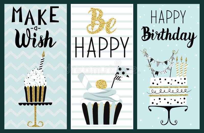 Insieme di carte del partito di buon compleanno illustrazione di stock
