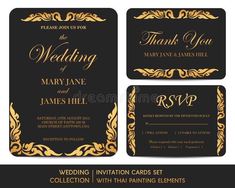 Insieme di carte dell'invito di nozze con pittura tailandese royalty illustrazione gratis